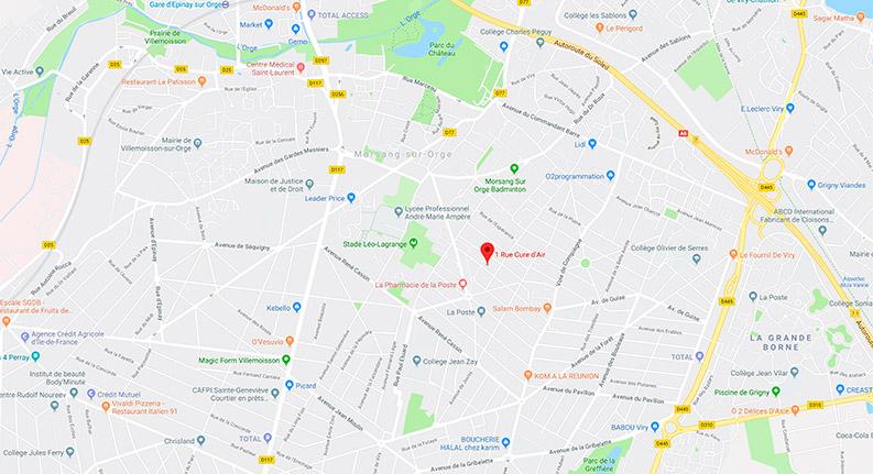 Carte de localisation du cabinet de Colette Mai, infirmère à Morsang-sur-Orge